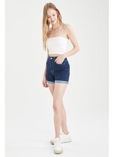 DeFacto Katlama Detaylı Slim FitMini Jean Şort Mavi